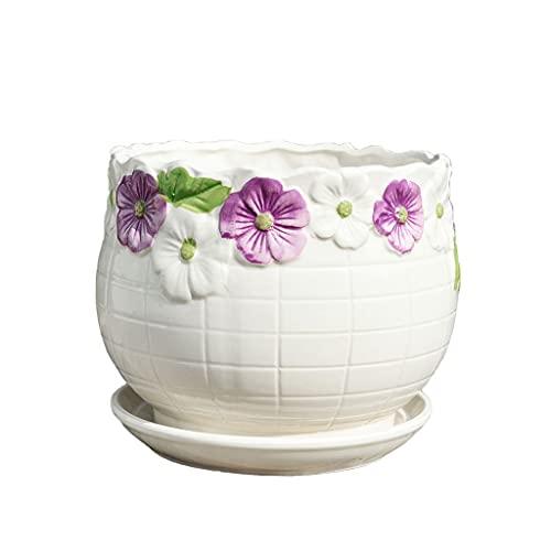 Maceta Potes de cerámica de cerámica blancas con bandejas para el hogar Mesa de centro de café Decoración de escritorio Potes de flor 8 opciones de macetas chinas Contenedores de suculentas modernas