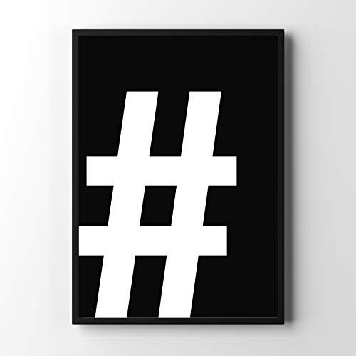 Papieren smederij Premium typografie-poster | Stijlvolle wanddecoratie voor de fotolijst in vele formaten DIN A3 (29,7cm x 42cm) Symbool: # op zwart.