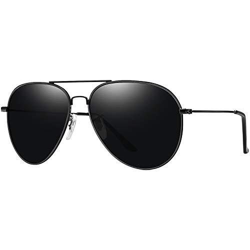Joopin Aviation Sunglasses for Women Men Polarized UV Protection Classic Military Style Sun Glasses with Metal Frame, Black