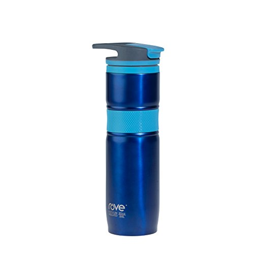 Rove Vaso Water Bottle Collection- Stainless Steel Vacuum Insulated Double Walled Dishwasher Safe Travel Sports Bottle, 30 Ounce Vaso Water Bottle in Blue