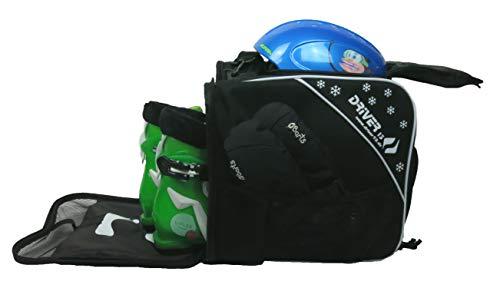 Driver13  Bolsa para Botas de esquí para niños Bolsa para Botas de esquí con Compartimento para el Casco para Botas duras y Blandas Patines en línea y Bolsa para Botas Negro