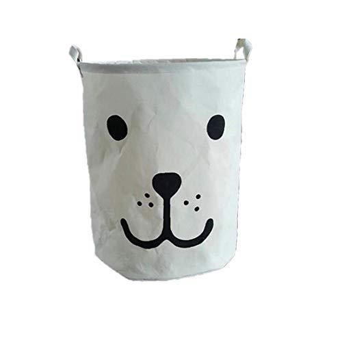 Nicetruc 50 * 40 cm Caja de Almacenamiento de la Ropa del Bolso del Organizador Cesta de lavadero de la Historieta por Juguetes sucios Misceláneas Cesta Plegable Blanca