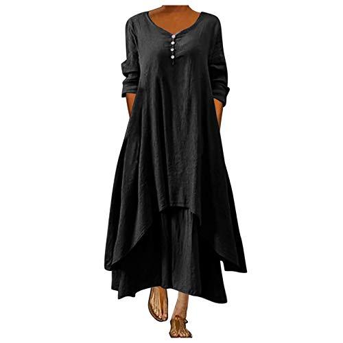 Vestido longo feminino casual de verão estilo boêmio, manga 3/4, estampa floral, plus size, solto, vestido de verão para festa na praia, Preto, XXG