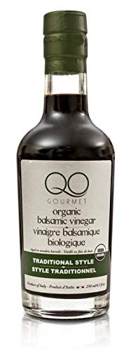 QO Organic Thick Aged Balsamic Vinegar of Modena | 4% Acidity | Gourmet Traditional Style | Dense Premium Italian Vinegar | Aceto Balsamico di Modena | Crafted and Bottled in Modena, Italy | 8.5 fl.oz