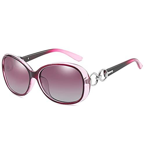 PSFF Gafas de Sol polarizadas púrpuras, protección UV400, Gafas de Sol de conducción de Marco Oval Retro Purple