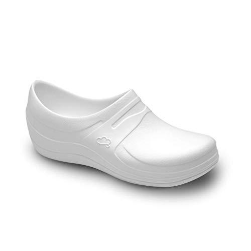 Feliz Caminar - Zapatos Sanitarios Nebula/con Correa Antideslizantes y Cómodos/Anatómicos/Cocina, Sanidad, Hostelería (Blanco 36)