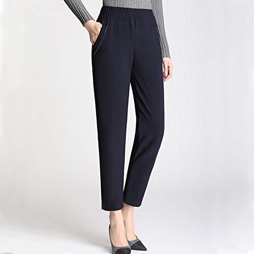 YSDSBM Pantalones Mujeres Tamaño Grande Simple Cintura Alta Ocio Pantalones Largos Rectos Mujeres Bolsillo All-Match Mujer Office Lady