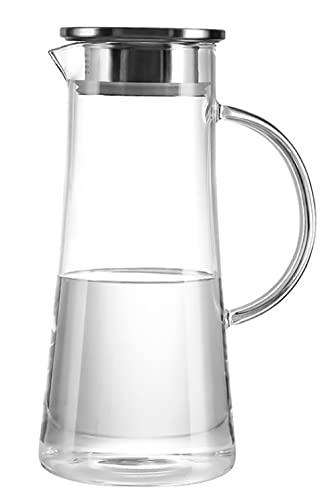 Jarra De Agua De Vidrio con Tapa Y Pico para Jugos Fríos/Calientes, Bebidas Heladas, Té, Leche, Café