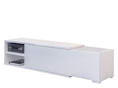 Mirjan24 TV Board Cliff, Standschrank, TV-Lowboard mit Grifflose Öffnen, TV Schrank, TV-Tisch, Fernsehtisch, Sideboard, TV Bank (Weiß)
