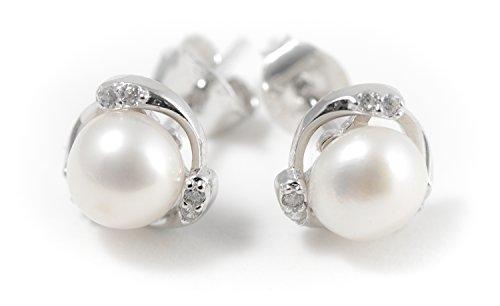 Minely Jewels Pendientes de Perlas Cultivadas Rodeadas de 6 pequeñas Circonitas. En Plata de Ley 925. Verdaderas Perlas Cultivadas