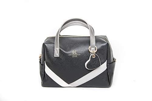 Victor Line SRL Coveri Contemporary - Bolso de mujer de piel sintética, baúl de mano, 2 asas con correa, color Color negro.