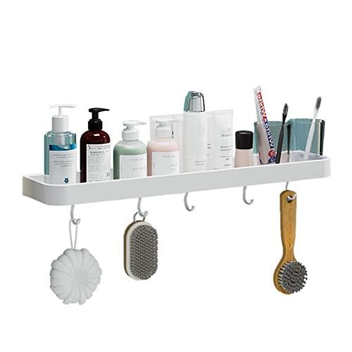 Balda Baño Sin Taladro Estanteria WC con Ganchos Repisa Ducha Pared Autoadhesiva Aluminio Blanco para inodoros-Los 60cm