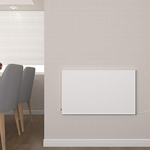 Infrarotheizung mit Thermostat 300, 450, 580, 700, 900, 1100 Watt Weiß Carbon Crystal Paneelheizung - Überhitzungsschutz Design Infrarot Wandheizung Infrarot Heizung (580W + Thermostat)
