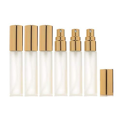 Enslz - 6 botellas de vidrio para atomizador de 10 ml, 10 ml, botella de vidrio con spray de fragancia rellenable, botella de perfume vacía, 2 piezas de pipeta 3 ml (10 ml, oro)