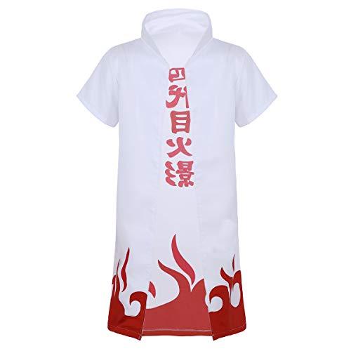 dPois Erwachsene Japanische Anime Umhang Mantel Kurzarm mit Stehkragen Rollenspiel Kleidung Unisex Cosplay Kostüm Weiß Weiß Small