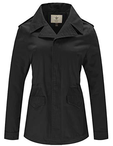 WenVen Women's Spring Casual Versatile MilitaryAnorak Jacket and Coat(Black, L)