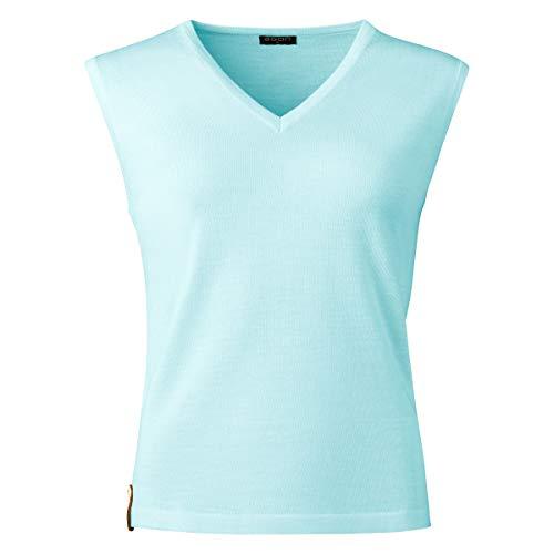 agon Damen Merino-Pullunder - ärmelloser Strick-Pullover mit V-Ausschnitt aus Biella Merino-Wolle mit UV-Schutz, Made in EU Türkis 34/XS