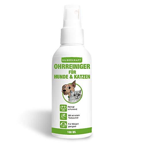 Silberkraft Ohrreiniger 100 ml für Hunde und Katzen, Ohrenpflege, mit Kamillenextrakt, reinigt sanft und schonend, lindert Juckreiz, für Welpen geeignet