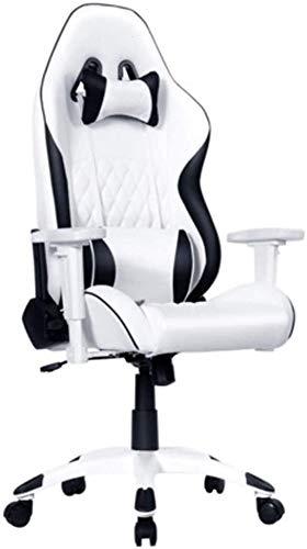 SJZLMB Masaje de la silla del juego, ergonómicas de alta Volver ordenador silla reclinable Silla de cuero de la PU que compite con silla de oficina ejecutiva con reposacabezas ajustable Soporte lumbar