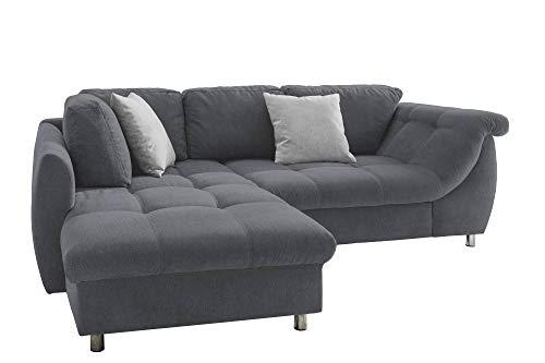 lifestyle4living Ecksofa mit Schlaffunktion in dunkelgrau mit großen Rücken-Kissen, Microfaser-Stoff | Gemütliches L-Sofa mit Longchair im modernen Look