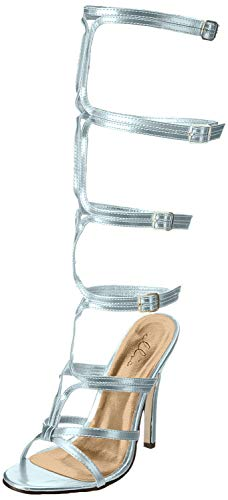 Women's Shoes 5 Inch Heel Knee High Strap Up Sandal (Silver;11)
