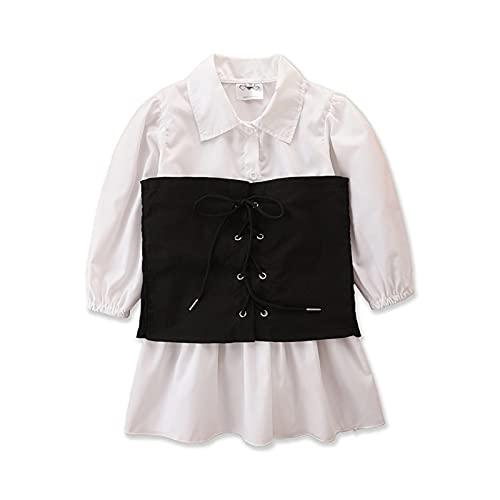 1-6 años vestido de camisa para niñas pequeñas con corsé chaleco de manga larga Bustier vestido vintage Streetwear bebé otoño vestido, I, 18-24 Meses