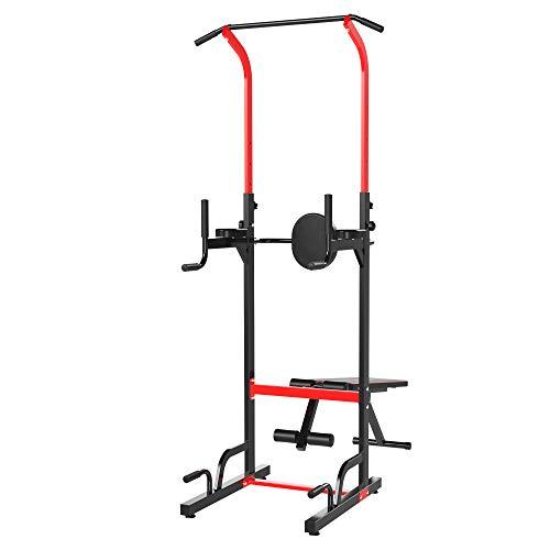 HOMCOM Multiestación Máquina de Musculación Multifuncional Plegable con Banco Acolchado Altura Ajustable en 6 Niveles Acero 94x174x180-230 cm Negro y Rojo