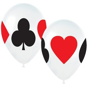 "Casino Card Night 11"" Latex Balloons - Package of 12"
