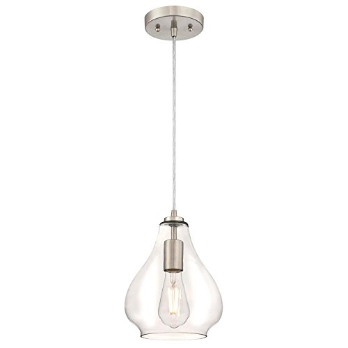 Westinghouse Lighting 6106400 One-Light Indoor Mini Pendant, Brushed Nickel Finish with Clear Glass