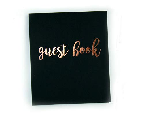 Modern Photo Guest Book, Softcover Flat-Lay Cardstock, Small 8.5'x7', 65 Black Sheets (130 pgs) Birthday Guest Book Wedding Guest Book Photo Guest Book Instax Guest Book Quinceanera Rose Gold Black