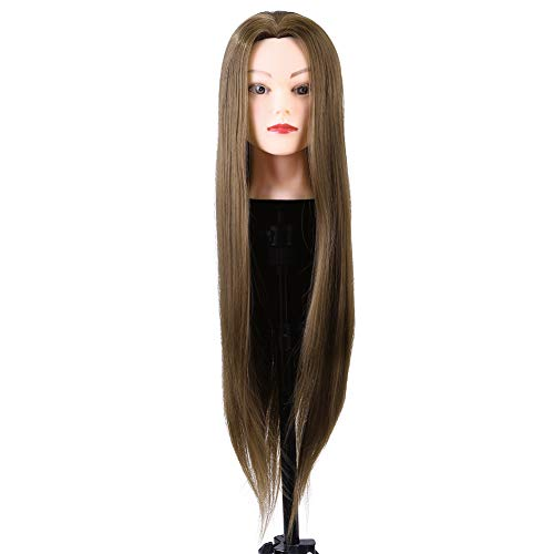 Tête de mannequin, coiffure en fibre synthétique, coiffeur, coiffeur, tête de cosmétologie, extensions de cils, poupée, tête équipée d'une pince de table pour pratiquer