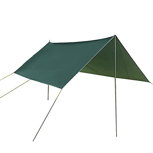 WALLhang Toldo Vela de Sombra,Outdoor Sun Shade Sail,Camping Ocio Multi Persona Gazebo,Anti UV,Playa BBQ Tienda,Verde Oscuro