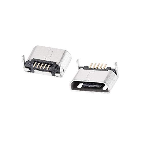 N/D 50 piezas Micro USB conector hembra conector Jack, 5 pines Dip 180 grados, adaptador de repuesto de reparación