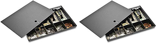 Sparco Money Tray, with Locking Cover, 16 x 11 x 2-1/4 Inches, Black (SPR15505) (Pack of 2)