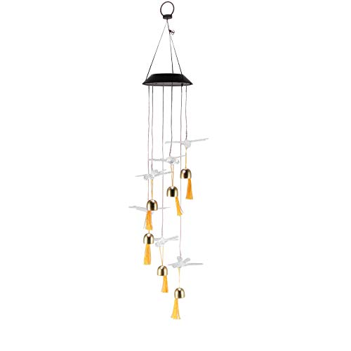 XIANNVV Solar Wind Chimes Outdoor, Dragonfly Wind Chimes, Color Changing Solar Powered LED Lamp Wind Chimes for Home Balcony Garden Decor Yard Pathway Patio