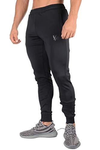 YoungLA Trainingshose für Herren | Slim Fit Tapered Sweatpants | Workout Track Jogger | Reißverschlusstaschen an den Seiten Mesh 215 - Schwarz - Medium