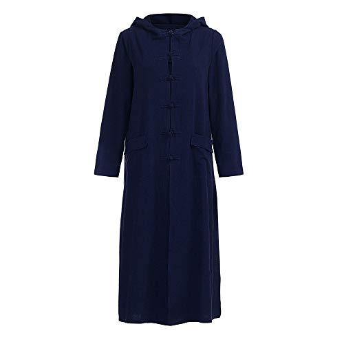 Nuevas Mujeres con Capucha Suelta Vestido Largo Casual Modernas Casual Largo Vestido De Manga Larga Abrigo Chaqueta Moda 2020 Ropa De Mujer (Color : Blau, One Size : 3XL)