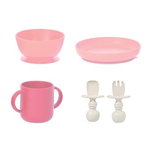 Vfhdd 5 platos de silicona para alimentación de bebé, impermeable, cuenco + cuchara + tenedor + taza