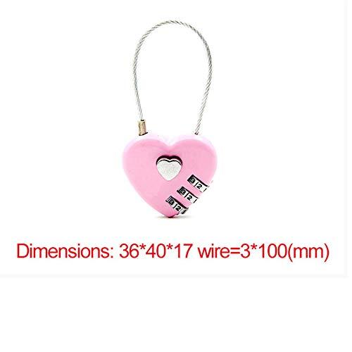 Vergrendelt 1 Stks 4 Kleuren Hart Wachtwoord Lock Prachtige Draad Touw Resettable Combinatie Drie Bit Digitale Hangslot Reistas Beveiligingsslot roze
