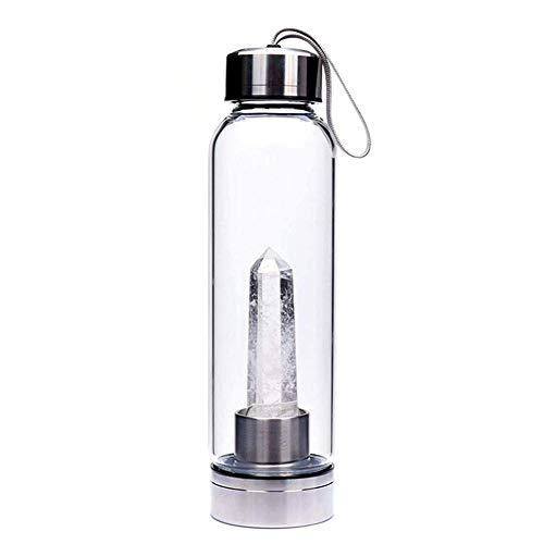 Dong Ran - Botella de Agua con Cristal de Cuarzo para curación de Piedras, 500 ml, Weißer Kristall