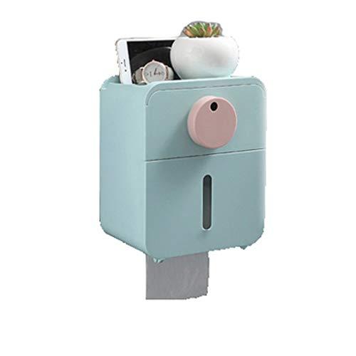 RJSODWL Multifuncional montado en la Pared la Caja del Tejido, la Caja del Tejido Impermeable for WC, Caja de pañuelos con Fuera de Perforación (Color : Blue)