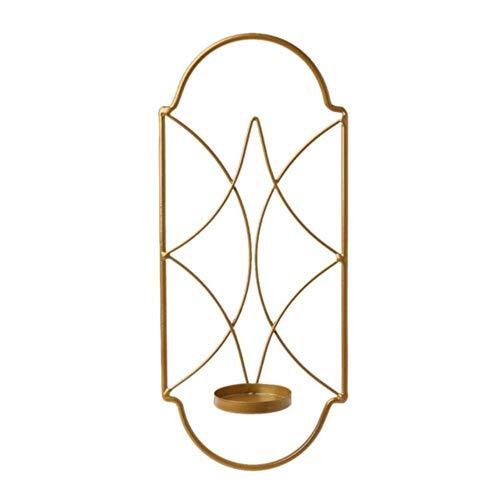 Qingsb Scandinavische metalen ijzeren kandelaar Wandgemonteerde schans Kandelaar Woondecoratie, goud