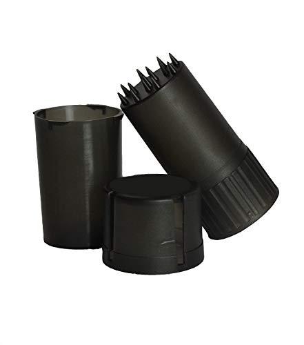 Imagen del producto Grinder y Caja Almacenaje Contenedor de Plástico Hermético Viaje Trituradora Amoladora Molinillo Integrado para Hierbas y Especias Negro