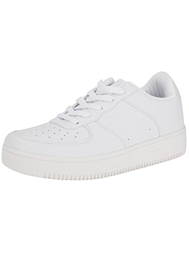 oodji Ultra Damen Sneakers aus Lederimitat mit Dicker Sohle, Weiß, 39 EU / 6 UK