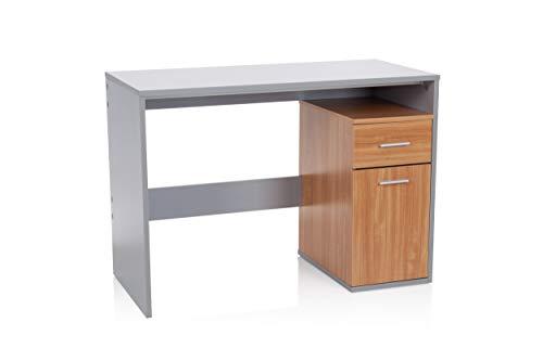 hjh OFFICE 705111 Schreibtisch mit Schublade und Tür 105 x 50 x 75 cm Basix Grau/Buche Computertisch PC-Tisch platzsparend