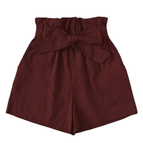 Ladies Pants Summer Elegant Women Bag Fashion Lhwy Casual Moderna Pantaloni Larghi Lady A Line Pantaloncini da Spiaggia Casual Pantaloni Corti Teen Men Girls (Color : Brown, One Size : L)