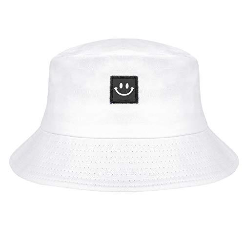Chalier Smileygesicht Fischerhut für Männer Frauen Mode Draussen Baumwolle Bucket Hat Sonnenhut Weich und Atmungsaktiv Faltbarer Strandhut Sommerhut Weiß