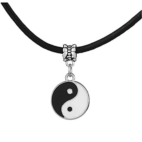 RRunzfon Collar Unisex de Cuero Negro Yin-Yang Tai chi joyería Pendiente de artículos de Regalo, baño y Mesa de la Cocina decoración