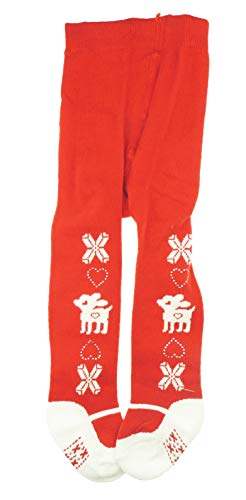 Baby Meisjes Baby Super Leuke Feestelijke Rendier Kristal Hart Kerst Panty Red 0-6 Months
