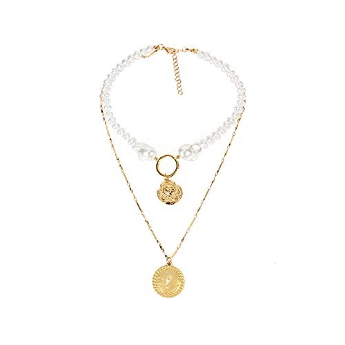 Collares para mujer con colgante de moneda de perlas en capas Gargantilla de cadena fina